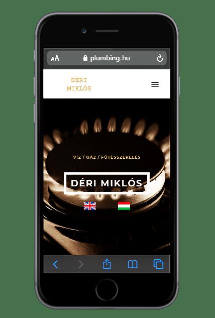 Déri Miklós weboldala iPhone készüléken.