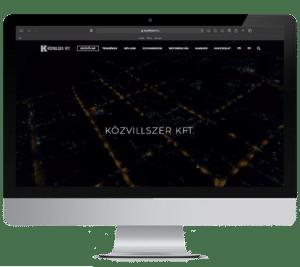 Közvillszer Kft. honlapjának megjelenítése iMac computeren.